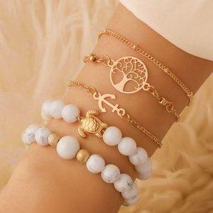 3/$20 New White & Grey Marble Beaded Bracelet Set